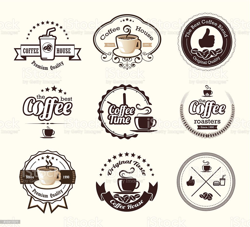 Set of vintage coffee badges and labels vector art illustration