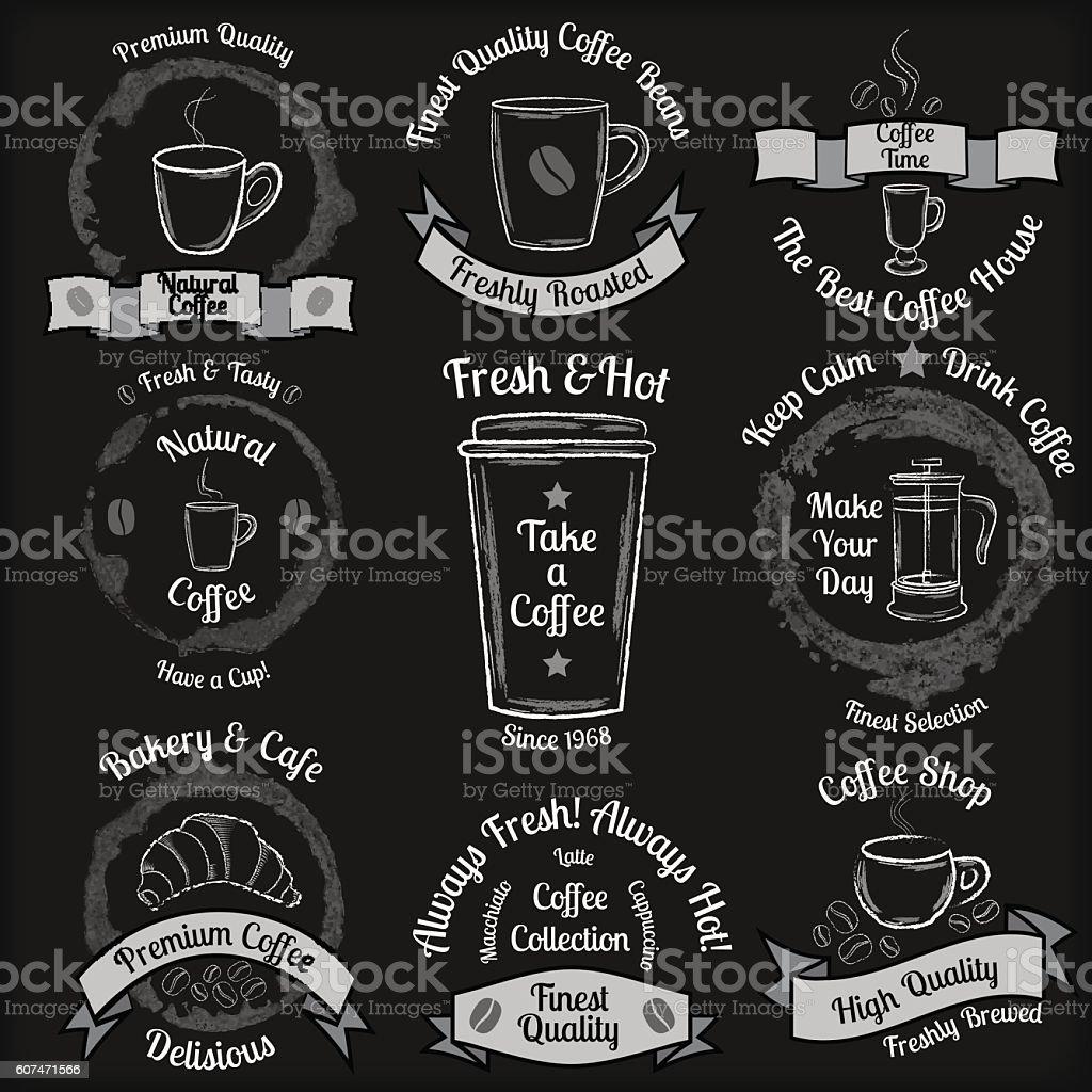 Set of vintage coffee badges on black chalkboard background vector art illustration