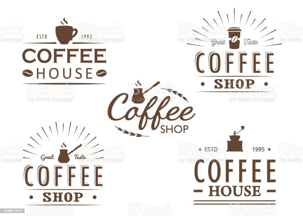 Satz Von Vintage Kaffee Logovorlagen Abzeichen Und Designelemente ...