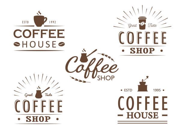 ilustrações de stock, clip art, desenhos animados e ícones de set of vintage coffee logo templates, badges and design elements. logotypes collection for coffee shop, cafe, restaurant. - coffe shop