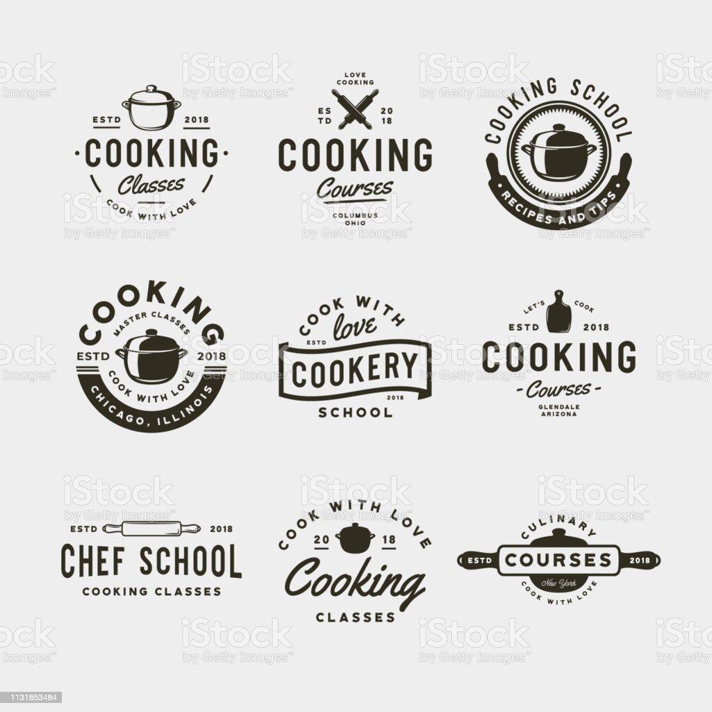 一套老式烹飪類符號。復古風格的烹飪學校標誌。向量例證 - 免版稅俄羅斯圖庫向量圖形
