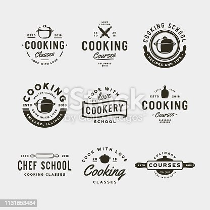 set of vintage cooking classes symbols. retro styled culinary school emblems, badges, design elements, symbol templates. vector illustration