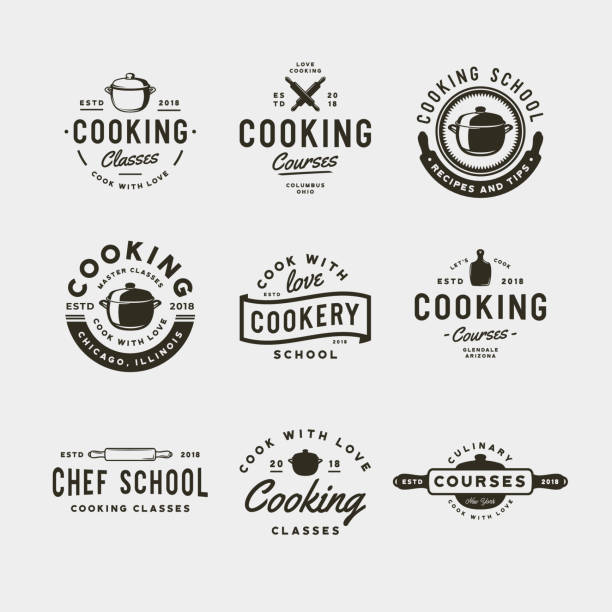 set of vintage cooking classes symbols. retro styled culinary school emblems. vector illustration set of vintage cooking classes symbols. retro styled culinary school emblems, badges, design elements, symbol templates. vector illustration cooking icons stock illustrations