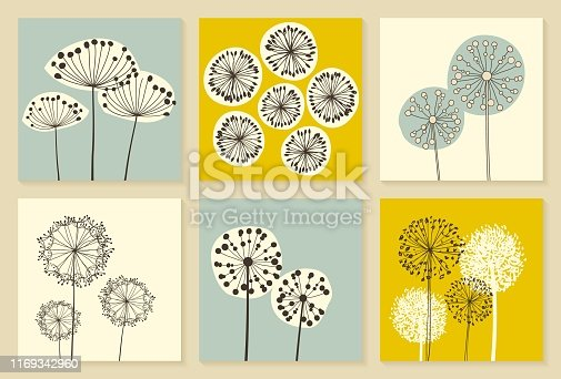 Set of Vintage Dandalions illustrations. Floral Elements for design, dandelions collection. - Vector