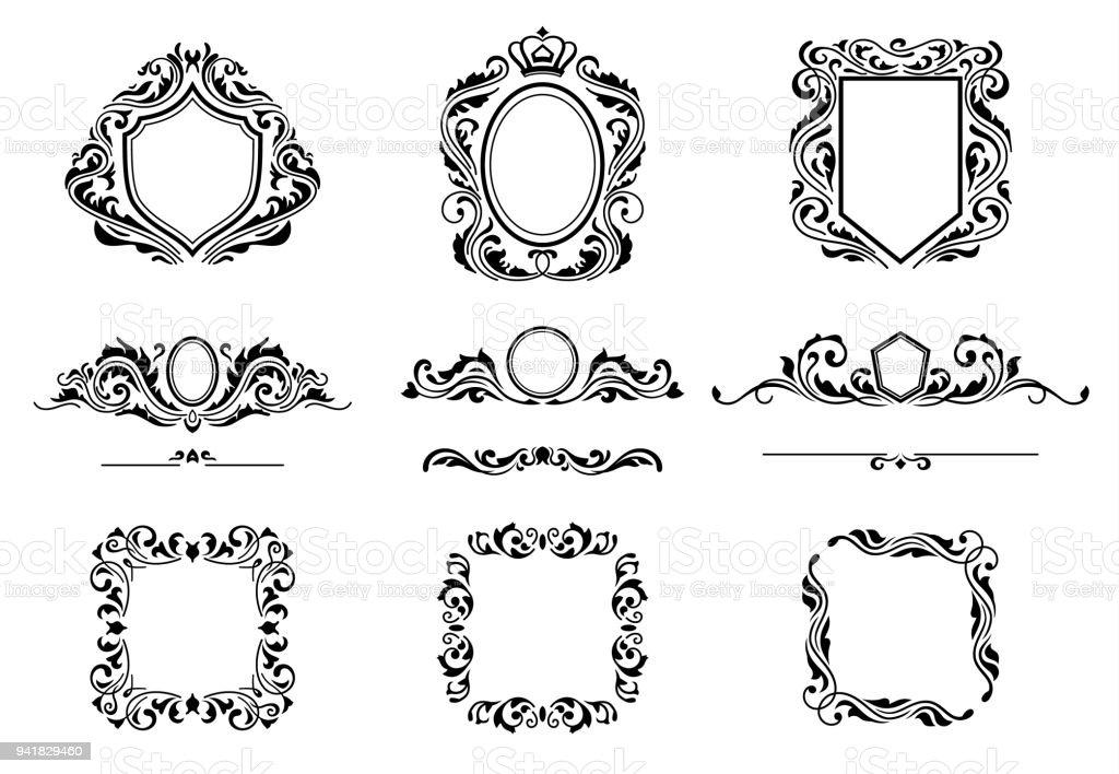 Ilustración de Conjunto De Elementos Del Marco De Decoración Vintage ...