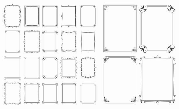 一套復古裝飾框架或復古矩形裝飾品或書法框架復古概念。eps 10 向量,易於修改 - 有邊框的 幅插畫檔、美工圖案、卡通及圖標