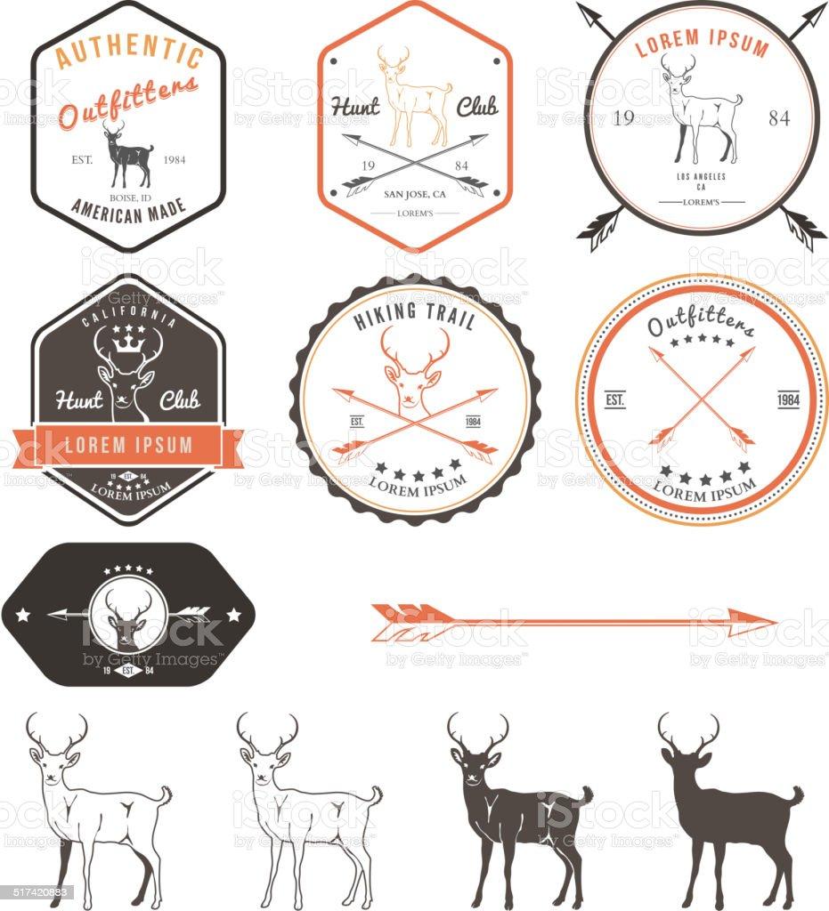 Set of vintage deer icons, emblems and labels vector art illustration