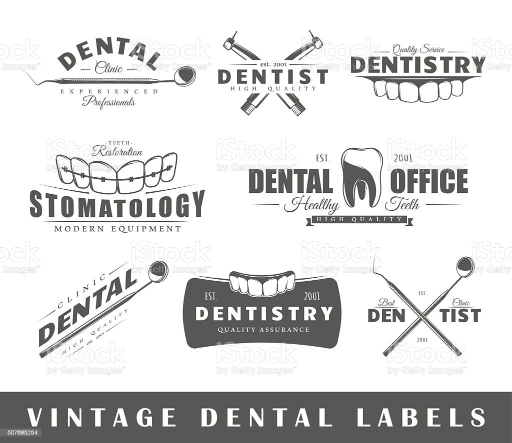 Set of vintage dentist labels vector art illustration