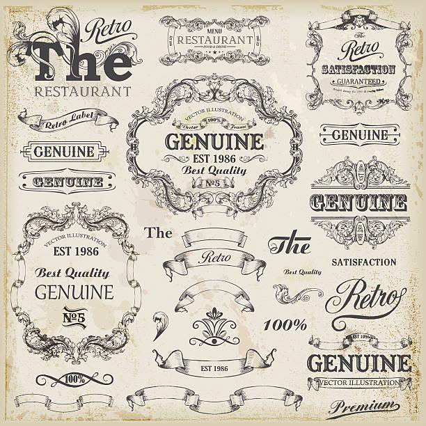 ilustrações, clipart, desenhos animados e ícones de conjunto de elementos de design vintage com texto vagas. - antiguidades