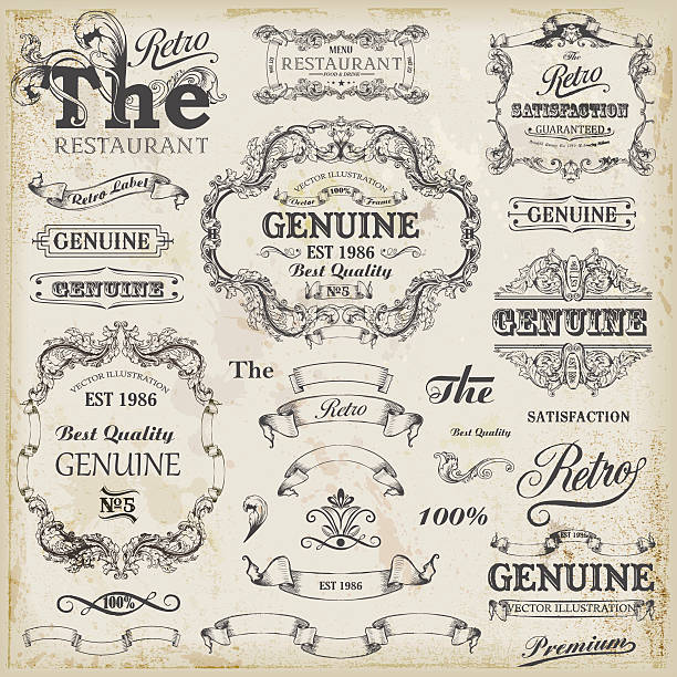 Set of vintage design elements with text placements. Set of vintage  19th century style stock illustrations