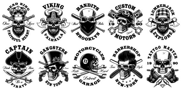 Set of vintage different skulls on white background Set of vintage different skulls on white background. Shirt designs with king, viking, lumberjack, pirate and many others. Text is on the separate layer. bandit stock illustrations