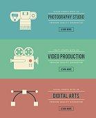 set of vintage digital arts themed banners