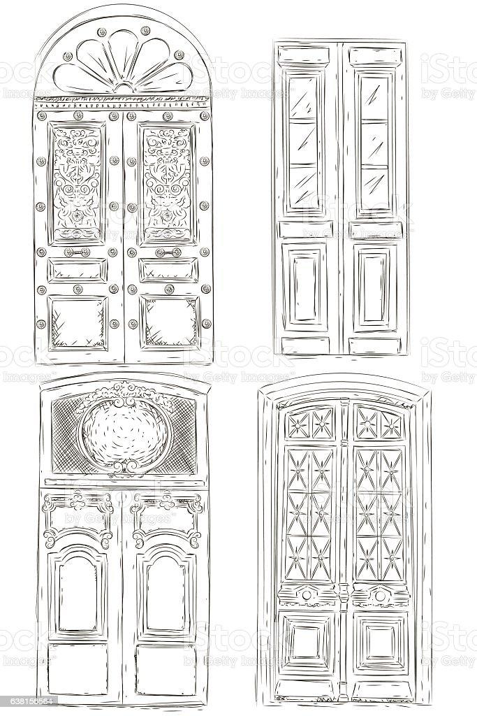 Set Of Vintage Door Royalty Free Stock Vector Art Amp