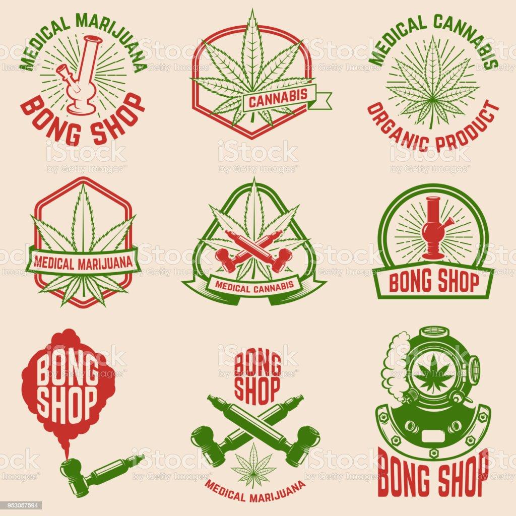 Set of vintage emblems with medical marijuana. Cannabis leaves. Design element for  label, emblem, sign, poster, t shirt. vector art illustration