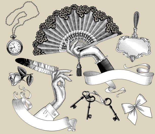 Jeu de vintage gravure les dessins stylisés de mains et d'accessoires de la femme - Illustration vectorielle