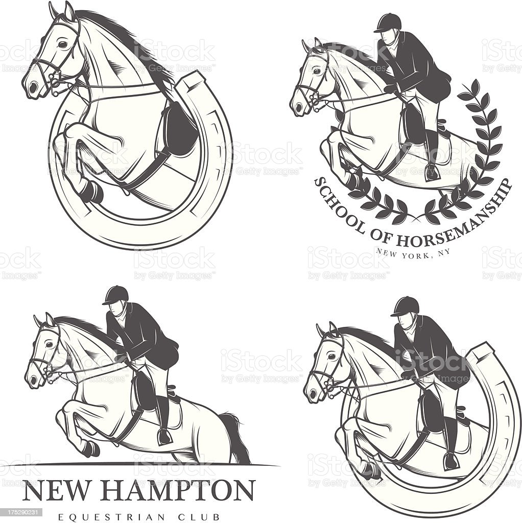 Set of vintage equestrian labels and badges