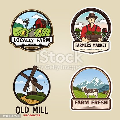 Set of vintage farm logotype. Vector illustration.