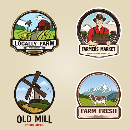 Set of vintage farm logotype. Vector illustration.