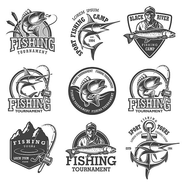 Set of vintage fishing emblems Set of vintage fishing emblems, labels, badges, logos. Layered, separate text, isolated on white background fishing stock illustrations