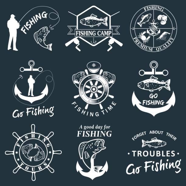 Set of vintage fishing labels, badges vector art illustration