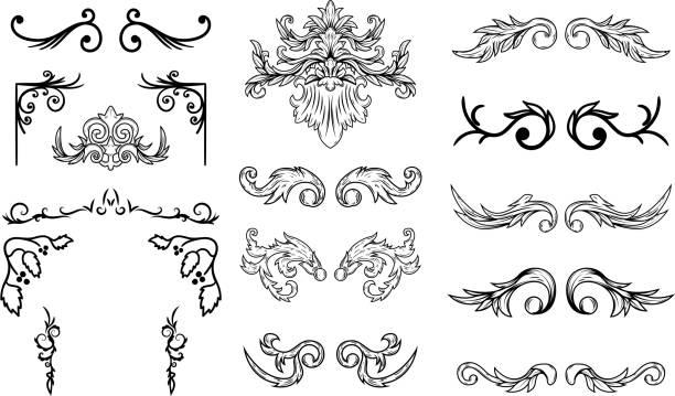 set of vintage flourish design elements. design elements for poster, emblem,card. vector illustration - thin line fonts stock illustrations
