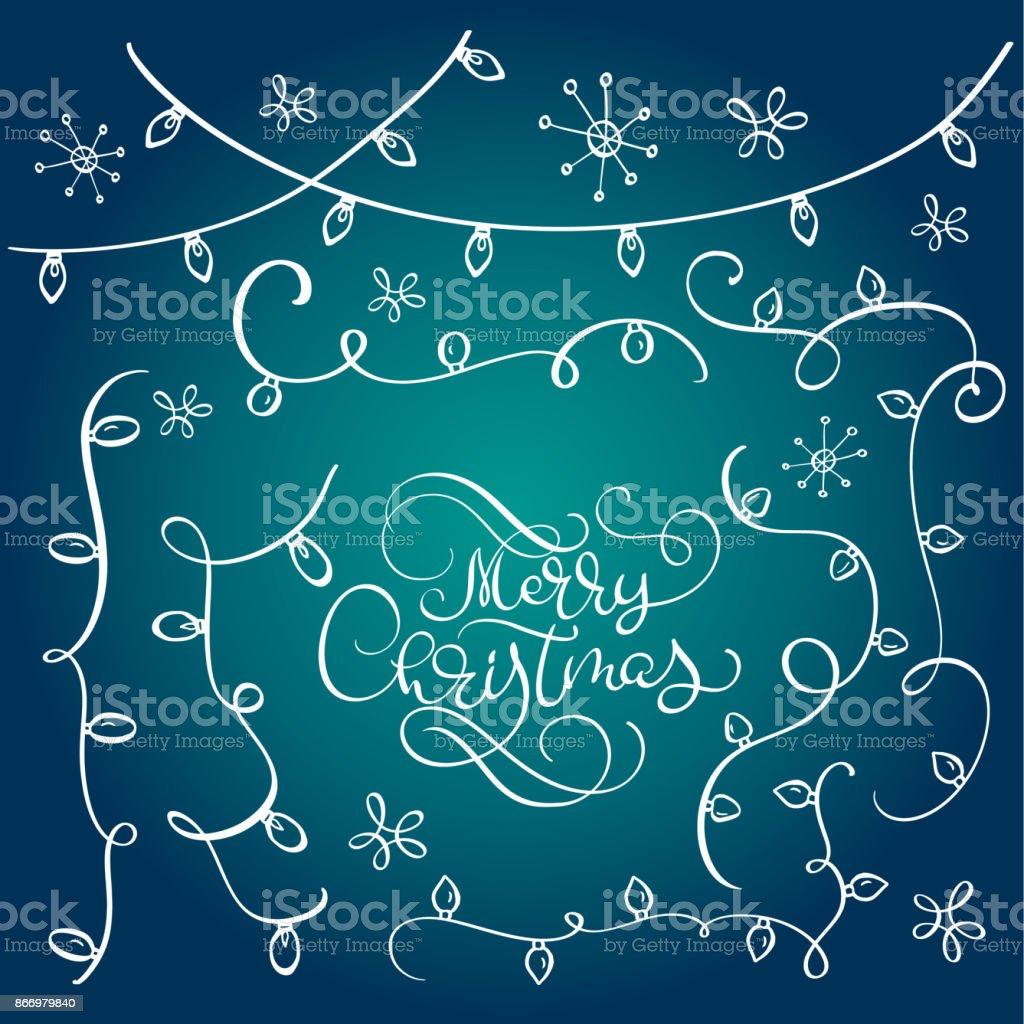 Frohe Weihnachten Schriftzug Beleuchtet.Satz Von Vintage Gedeihen Doodle Girlanden Weihnachten Dekorationen