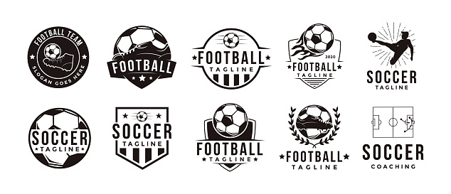 Set of Vintage Football soccer sport team club league with soccer football equipment vector on white background