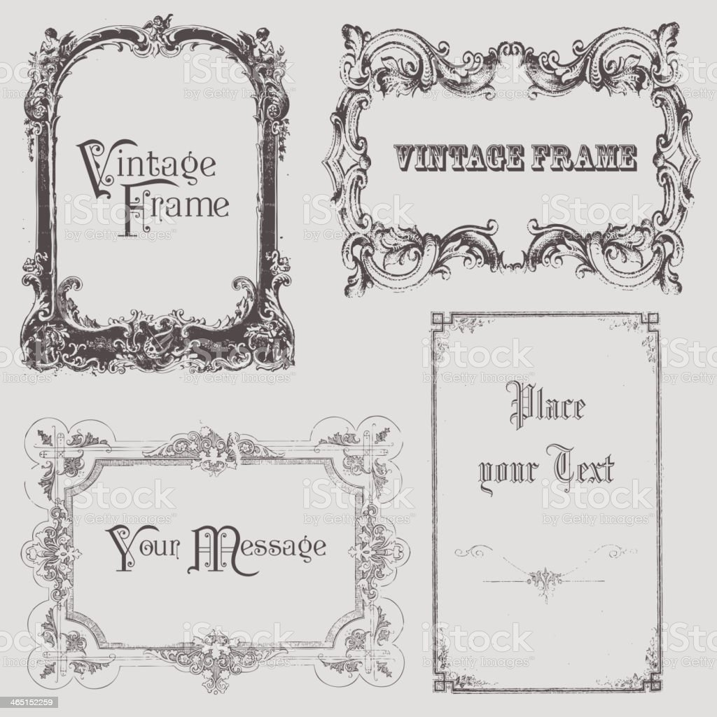Set of vintage frame designs in Victorian style royalty-free stock vector art
