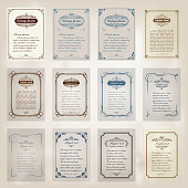 set of vintage frame with beautiful filigree and decorative border or premium invitation cards on ancient background , vector illustration