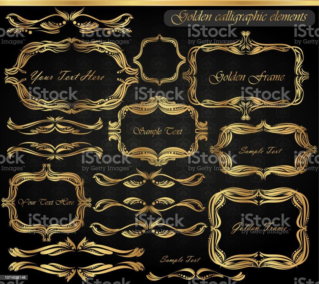 2b0a37a0ba1 Set of vintage frames and golden elements royalty-free set of vintage frames  and golden