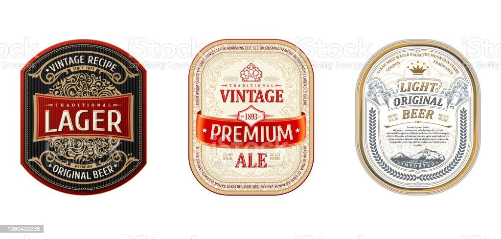 Set of Vintage frames for labels. Gold stickers bottle beer - Векторная графика Алкоголь - напиток роялти-фри