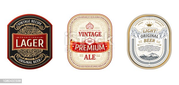 Set of Vintage frames for labels. Gold stickers bottle beer. Design for emblems, banner premium quality. Vector stickers for drinks bottles and cans. Template place for text. Flourishes advertising background