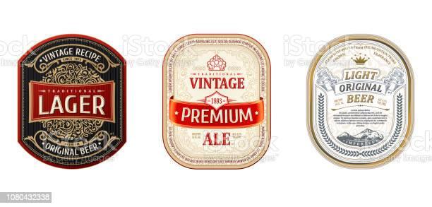 Set Of Vintage Frames For Labels Gold Stickers Bottle Beer — стоковая векторная графика и другие изображения на тему Алкоголь - напиток