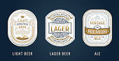 Set of Vintage frames for labels. Gold quality stickers. Design emblems, premium quality. Vector sticker for drinks beer bottles and cans. Template place for text. Flourishes advertising banner