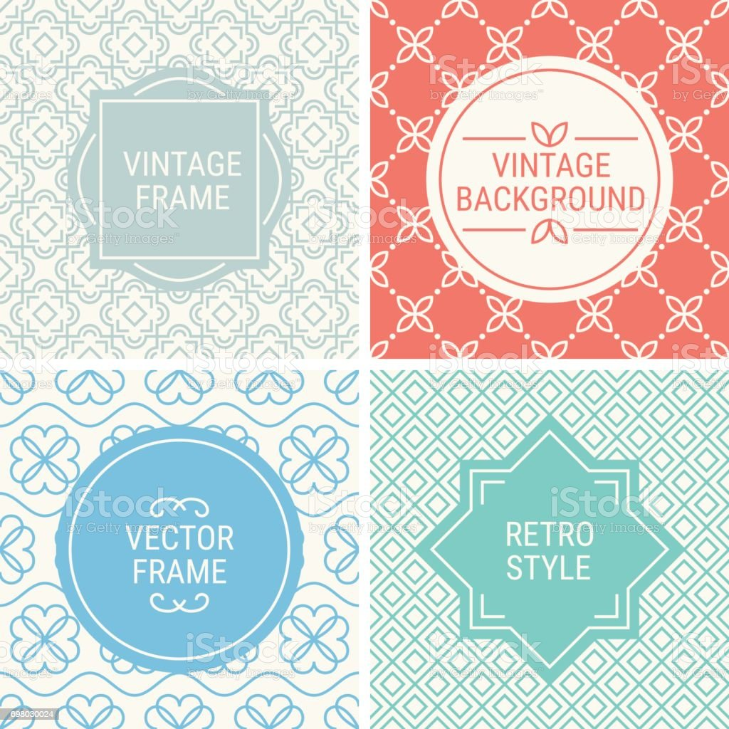 Set Of Vintage Frames In Grey Red Blue Turquoise Stock Vector Art ...