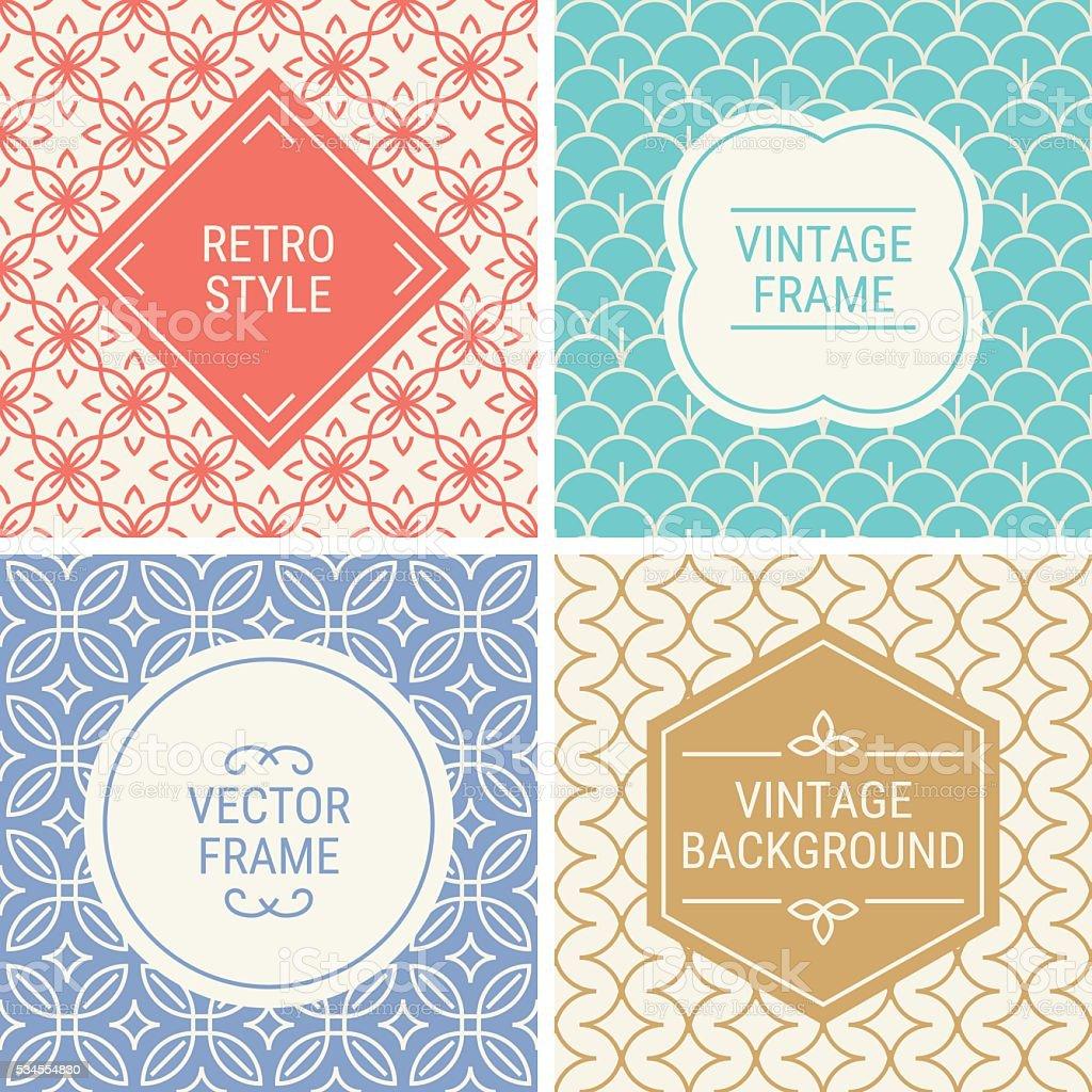 Set of vintage frames in Red, Cyan, Violet, Gold vector art illustration