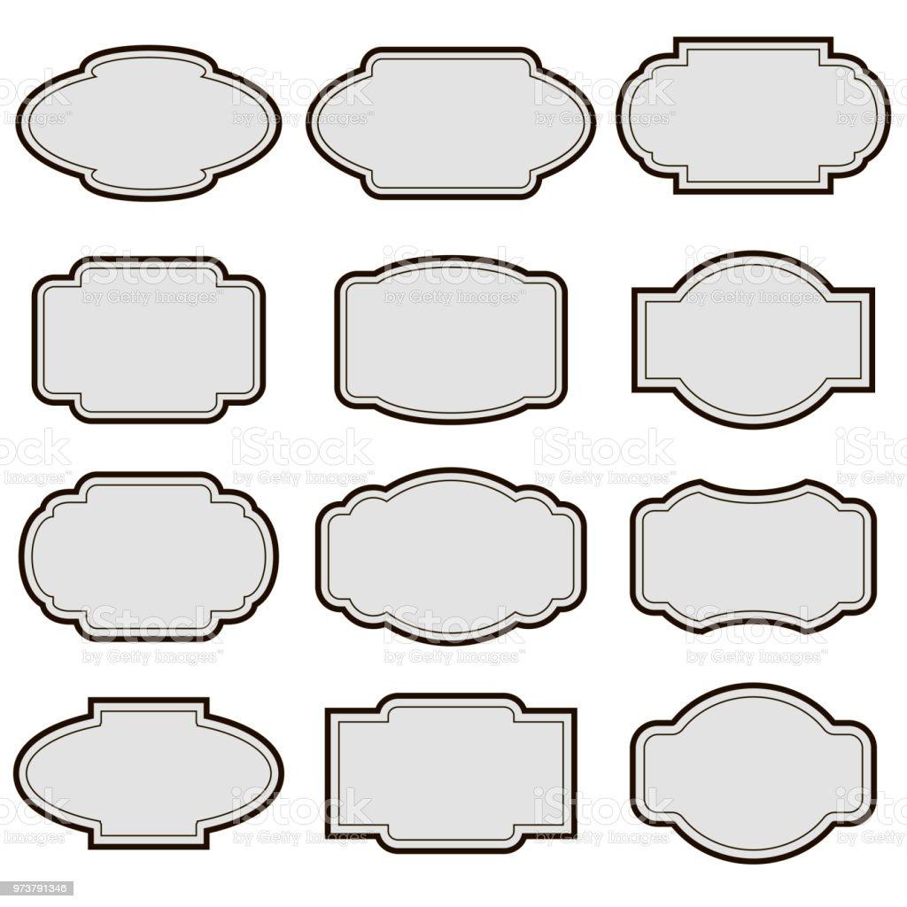 a03a93325a Set of vintage frames of different shapes in gray color. - Illustration .