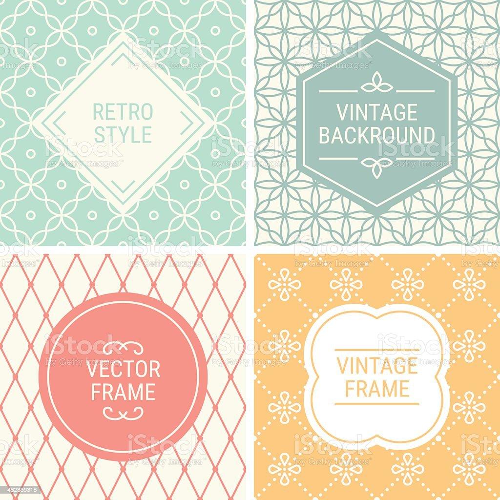 Set of vintage frames on mono line seamless background vector art illustration