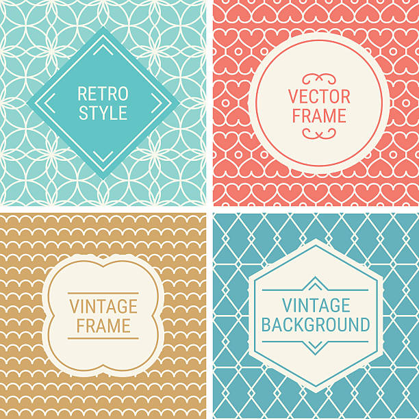 Set of vintage frames on mono line seamless background vector art illustration