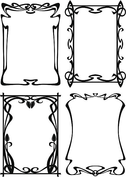 set of vintage frames - art nouveau stock illustrations, clip art, cartoons, & icons