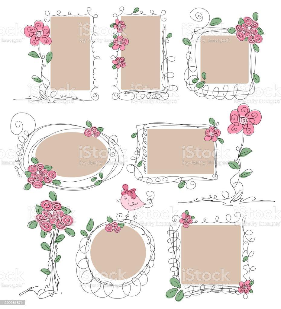 Conjunto De Marcos Vintage Con Flores Illustracion Libre de Derechos ...