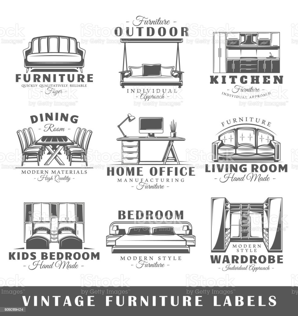Set Of Vintage Furniture Labels Stock Vector Art & More Images of ...