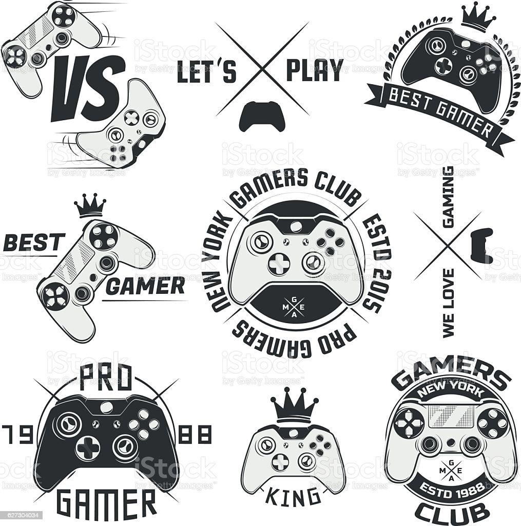 Set of vintage gamepad emblems,logos and design elements vector art illustration