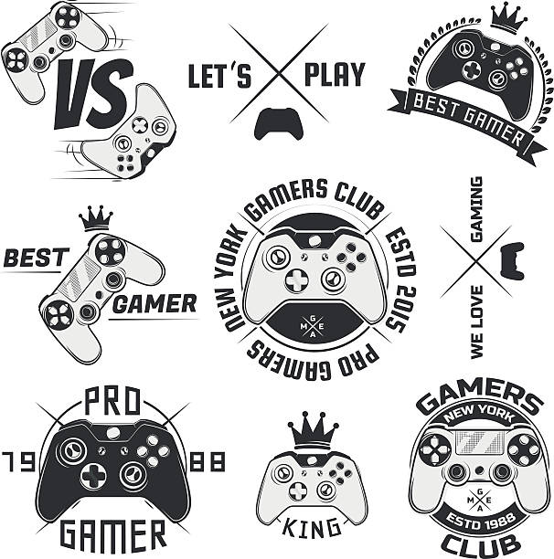 Set of vintage gamepad emblems,logos and design elements Set of vintage gamepad emblems, labels, badges, logos  game controller stock illustrations