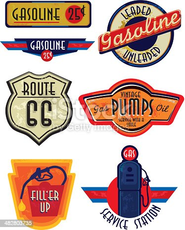 Old fashioned Gas Bar and Gasoline related signs and labels. Vintage style with sample design text and elements. Variety of color and lot's of texture to appear slightly worn with age. Download includes Illustrator 8 eps, high resolution jpg and png file. See my portfolio for other signs, labels and vintage items.