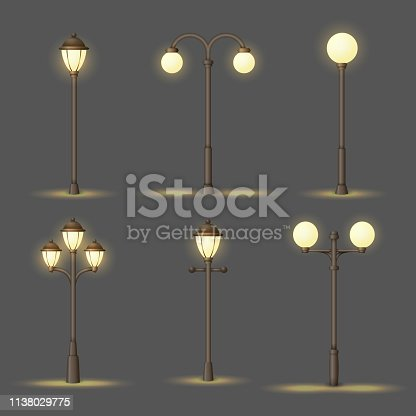 Set of vintage gas or electric street lamps. Collection of vector urban icons. Outdoor lights at night.