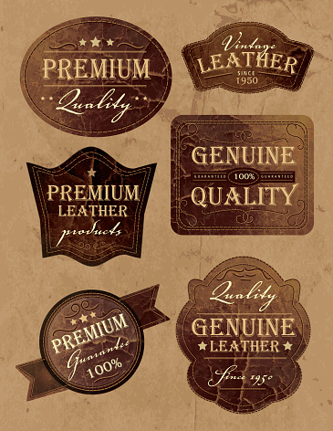 Set of vintage genium and premium leather labels