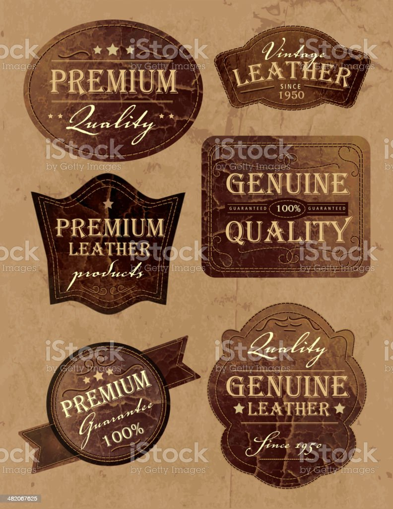 Set of vintage genium and premium leather labels vector art illustration