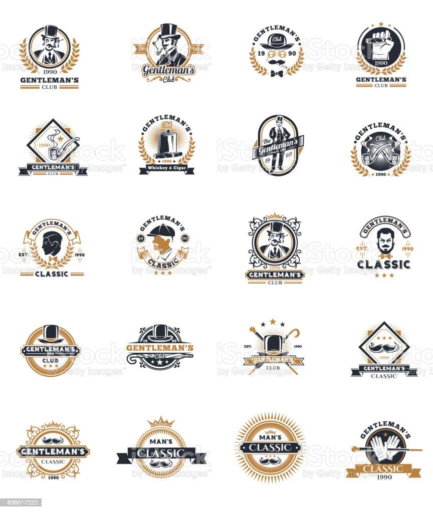 Set of vintage gentleman emblems, labels. vector art illustration