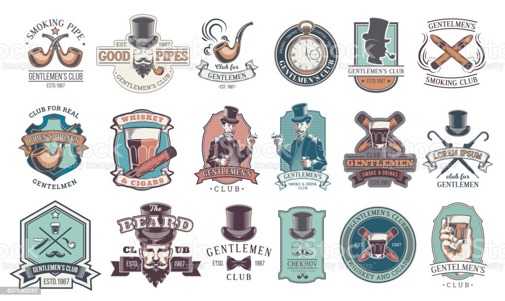 Set of vintage gentleman emblems, labels. vector art illustration